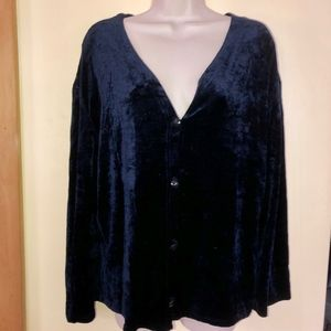 CAROLE LITTLE soft velvety knit cardigan/USA